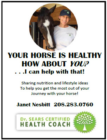 Your horse is healthy, how about you? ... I can help with that! | Sharing nutrition and lifestyle ideas to help you get the most out of your journey with your horse! | Janet Nesbitt 208.283.0760 | Dr. SEARS Certified Health Coach